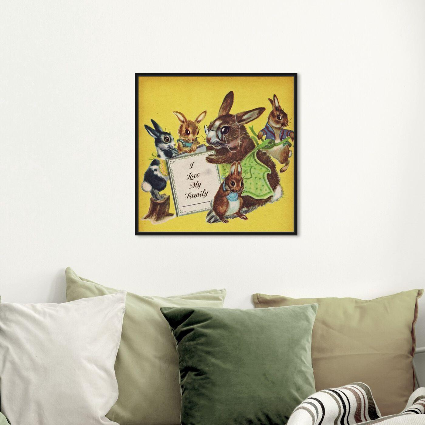 Hanging view of I Love My Family featuring animals and farm animals art.