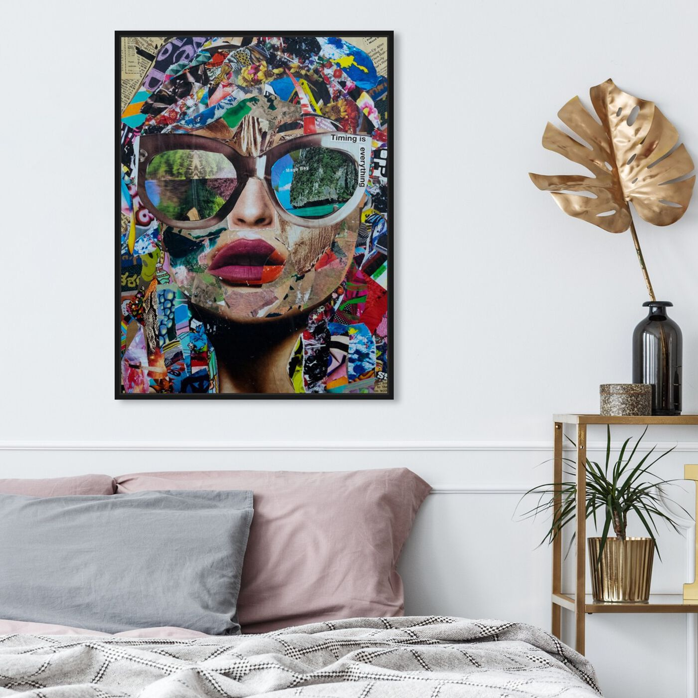 Hanging view of Timing is Everything by Katy Hirschfeld II featuring fashion and glam and portraits art.