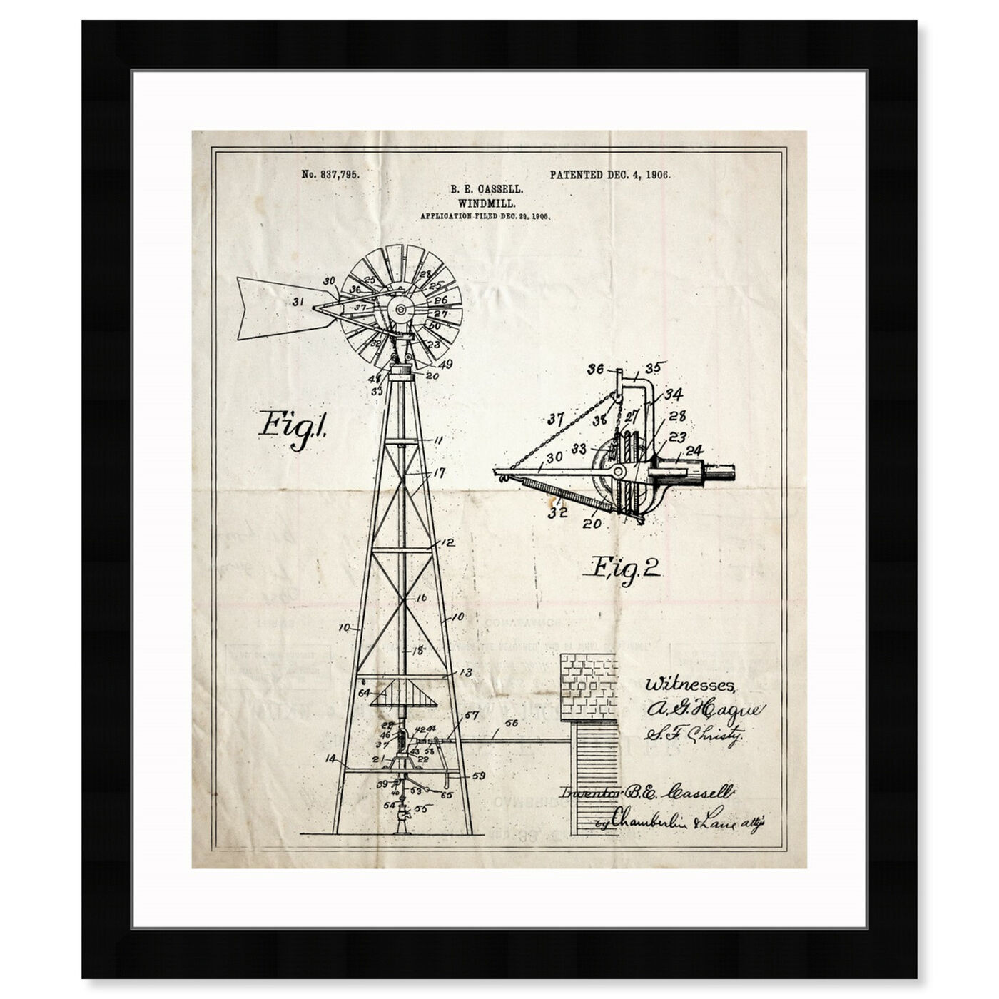Front view of Windmill 1906 featuring architecture and buildings and structures art.