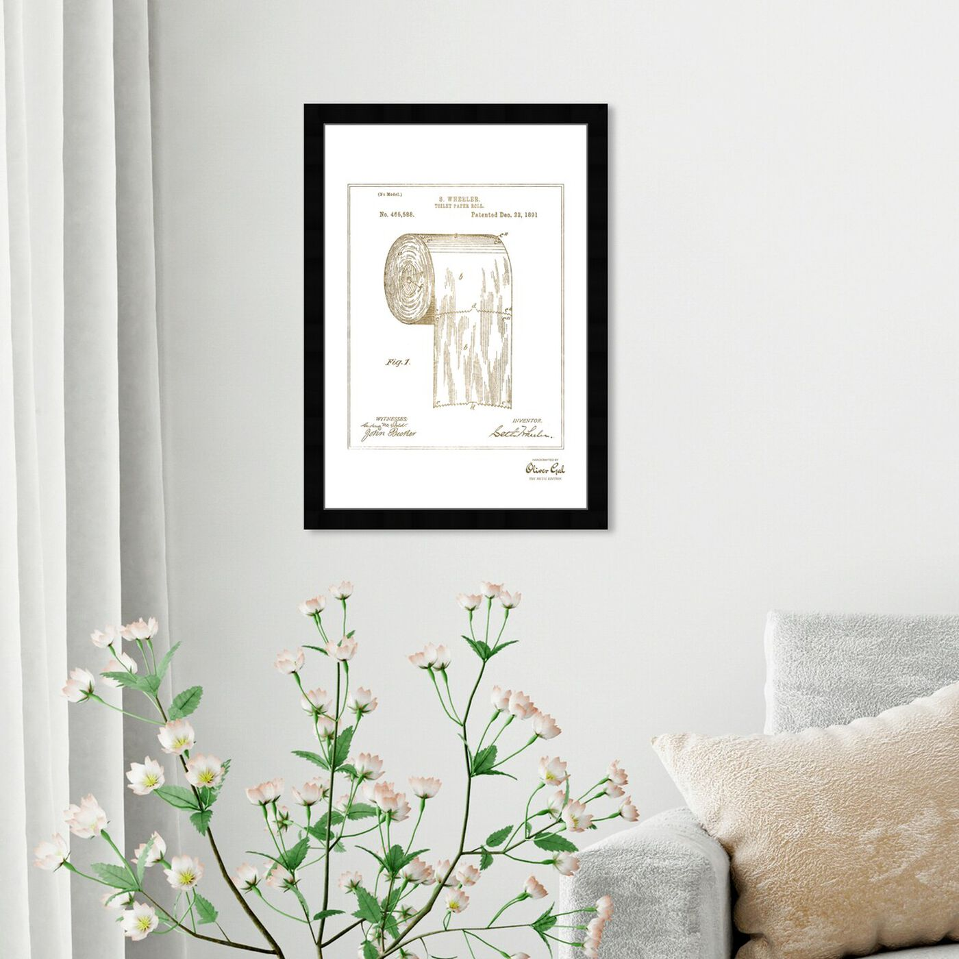 Hanging view of Toilet-paper roll 1891 I Gold featuring bath and laundry and bath art.