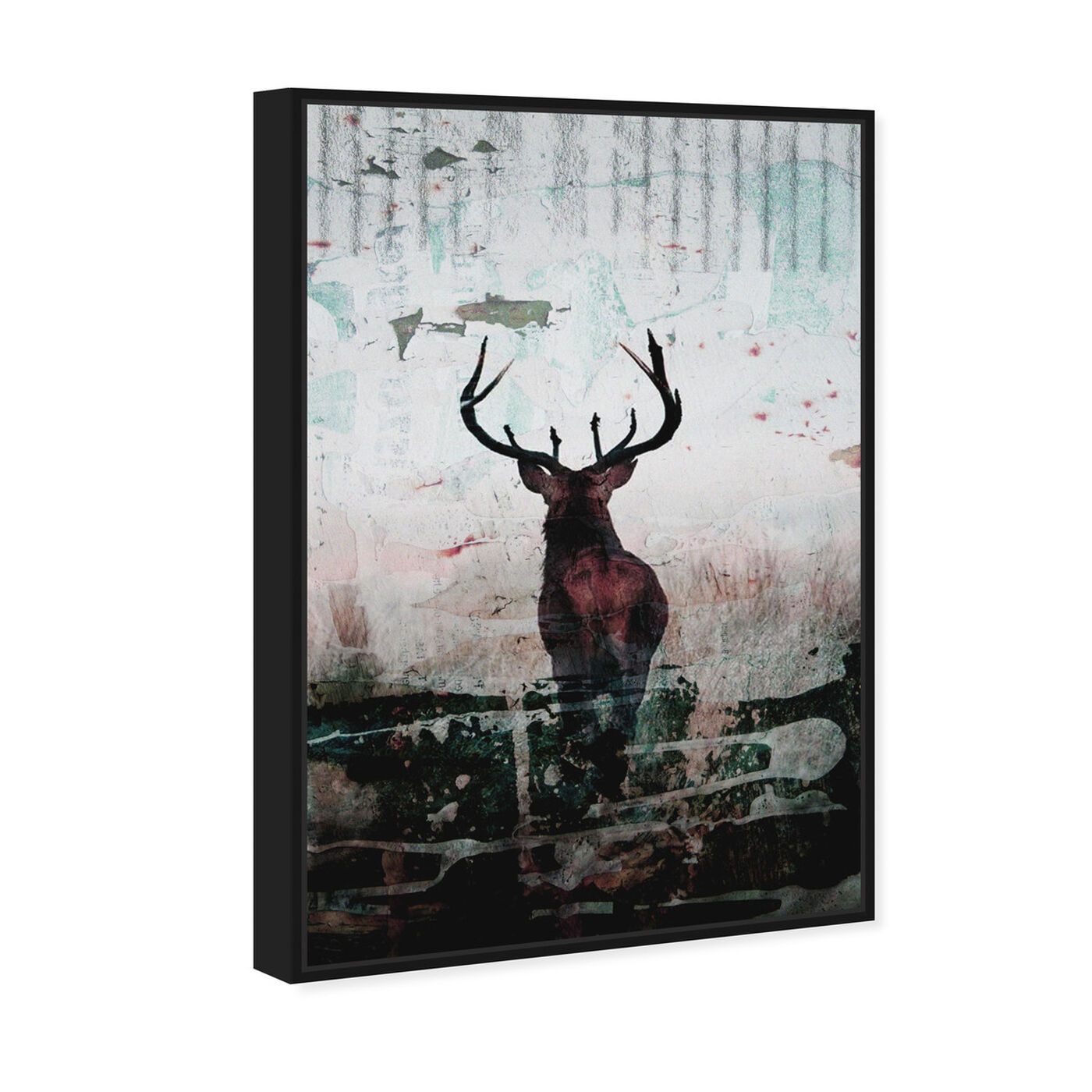 Angled view of Red Stag featuring animals and zoo and wild animals art.