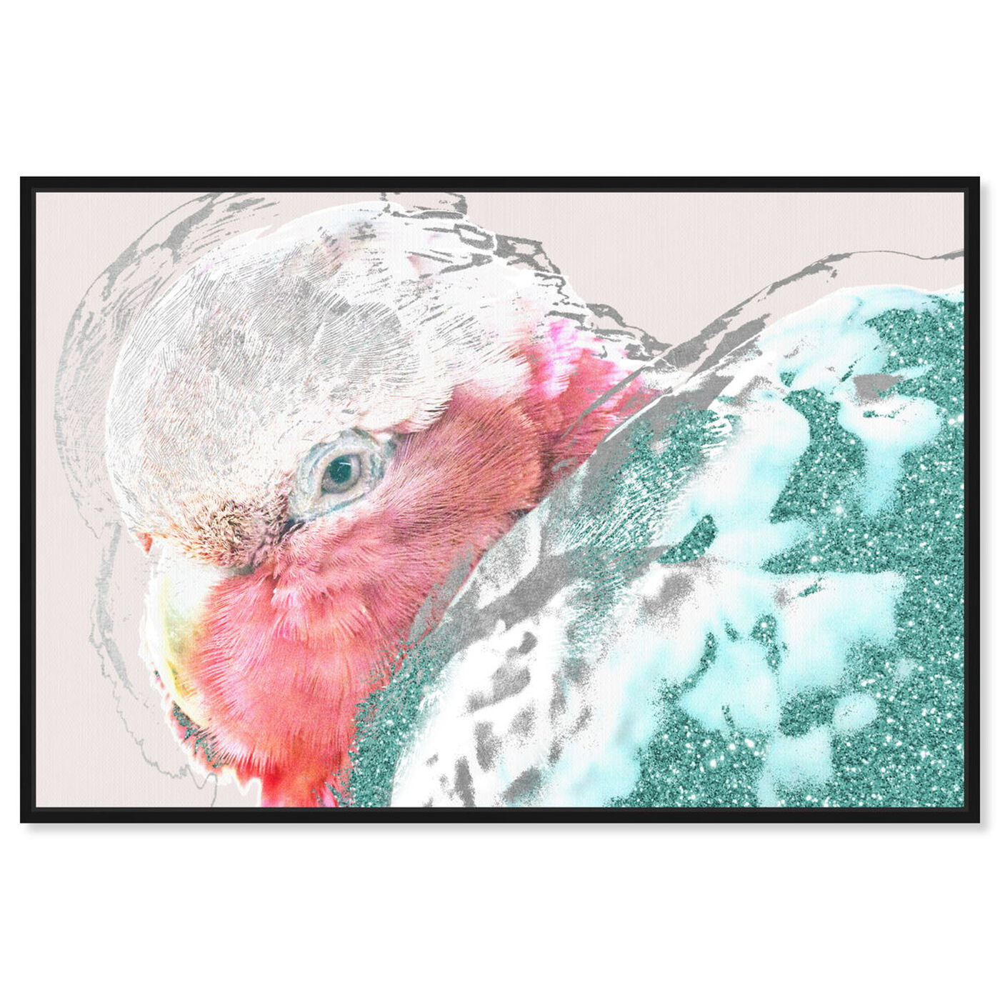 Front view of Galah featuring animals and birds art.