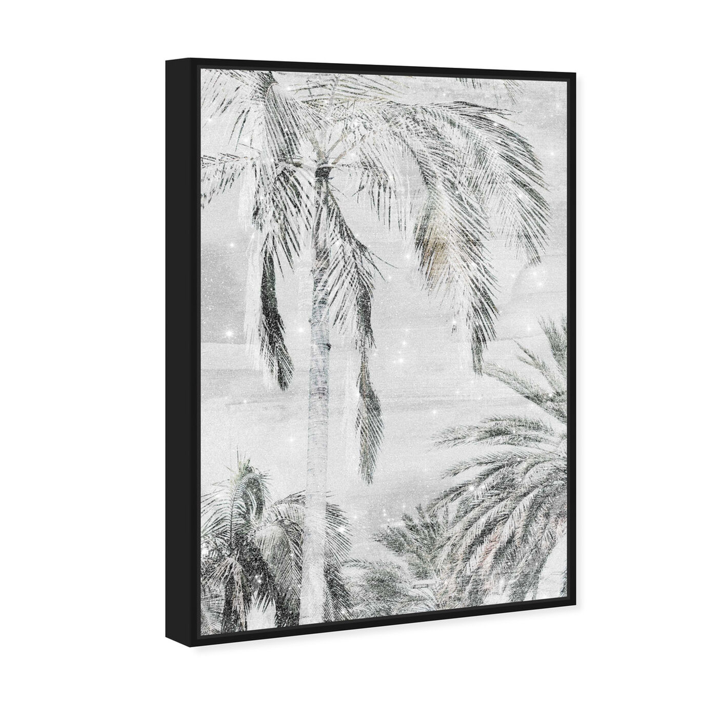 Angled view of Palm Trees Neutral Sparkle featuring floral and botanical and trees art.