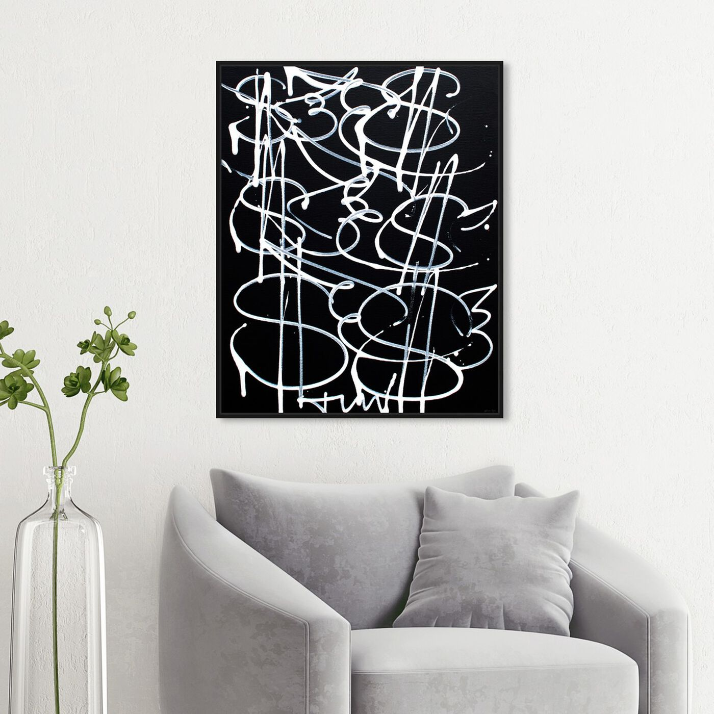 Hanging view of Money Fly by Tiago Magro featuring abstract and paint art.