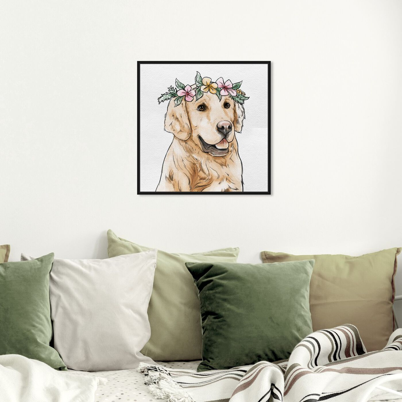 Hanging view of Floral Crowned Golden Retriever featuring animals and dogs and puppies art.