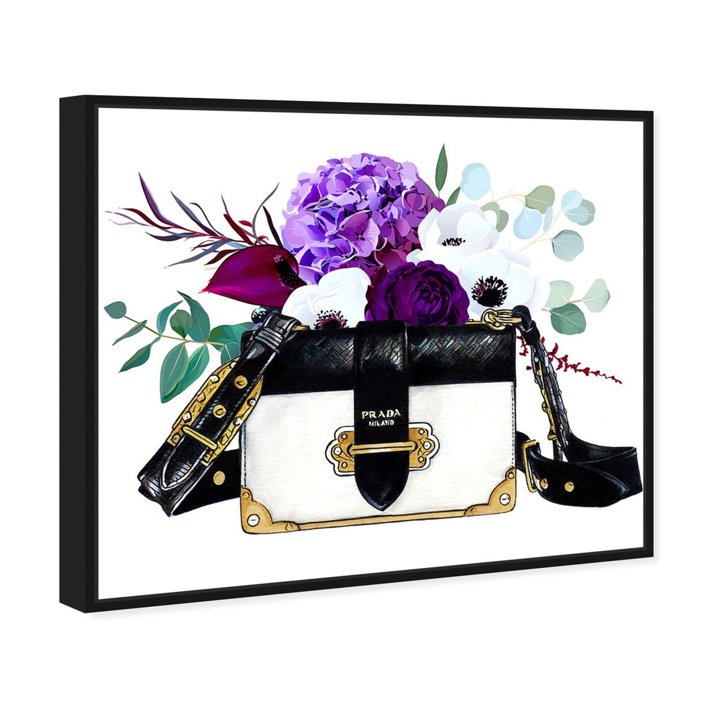 Angled view of Doll Memories - Paris Flower Bag featuring fashion and glam and handbags art.