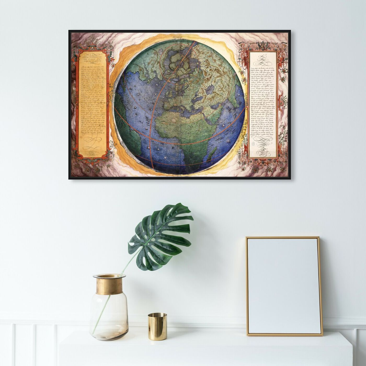 Hanging view of Prioris Hemisphaerii featuring maps and flags and world maps art.