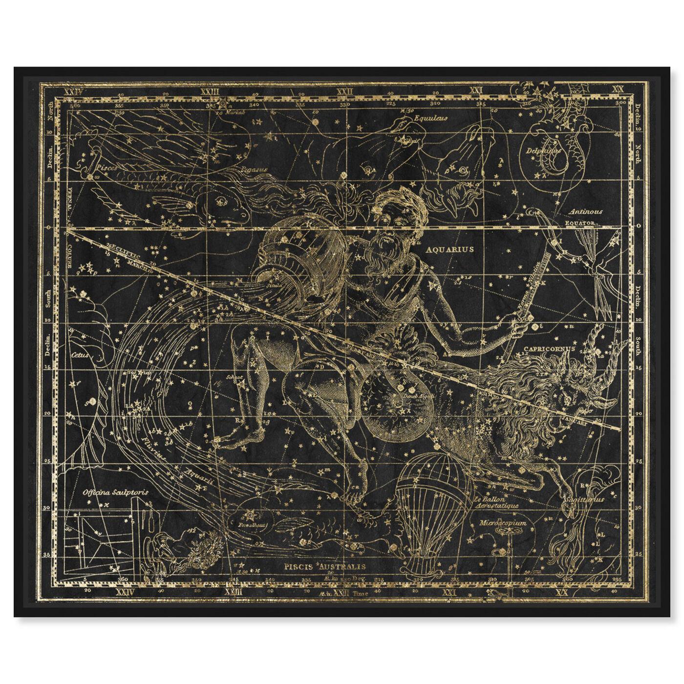Front view of Aquarius and Capricornius featuring spiritual and religious and zodiac art.