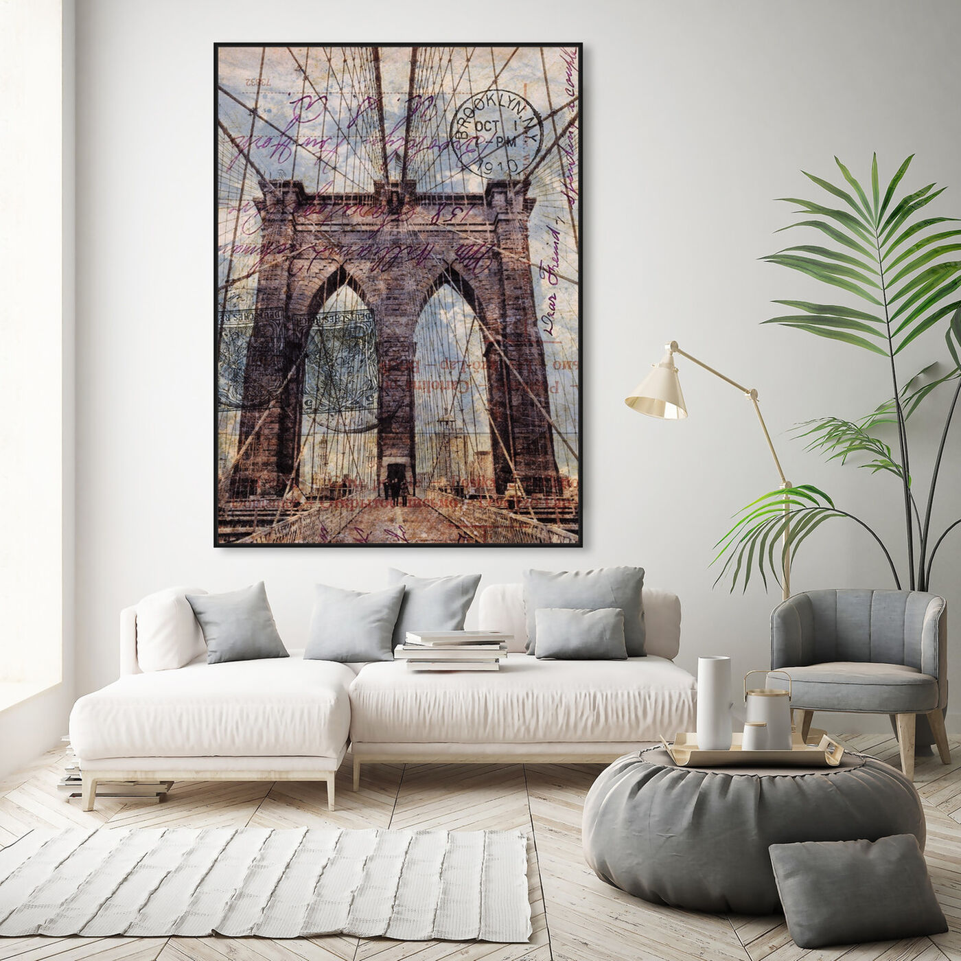 Hanging view of Brooklyn Bridge featuring architecture and buildings and famous bridges art.