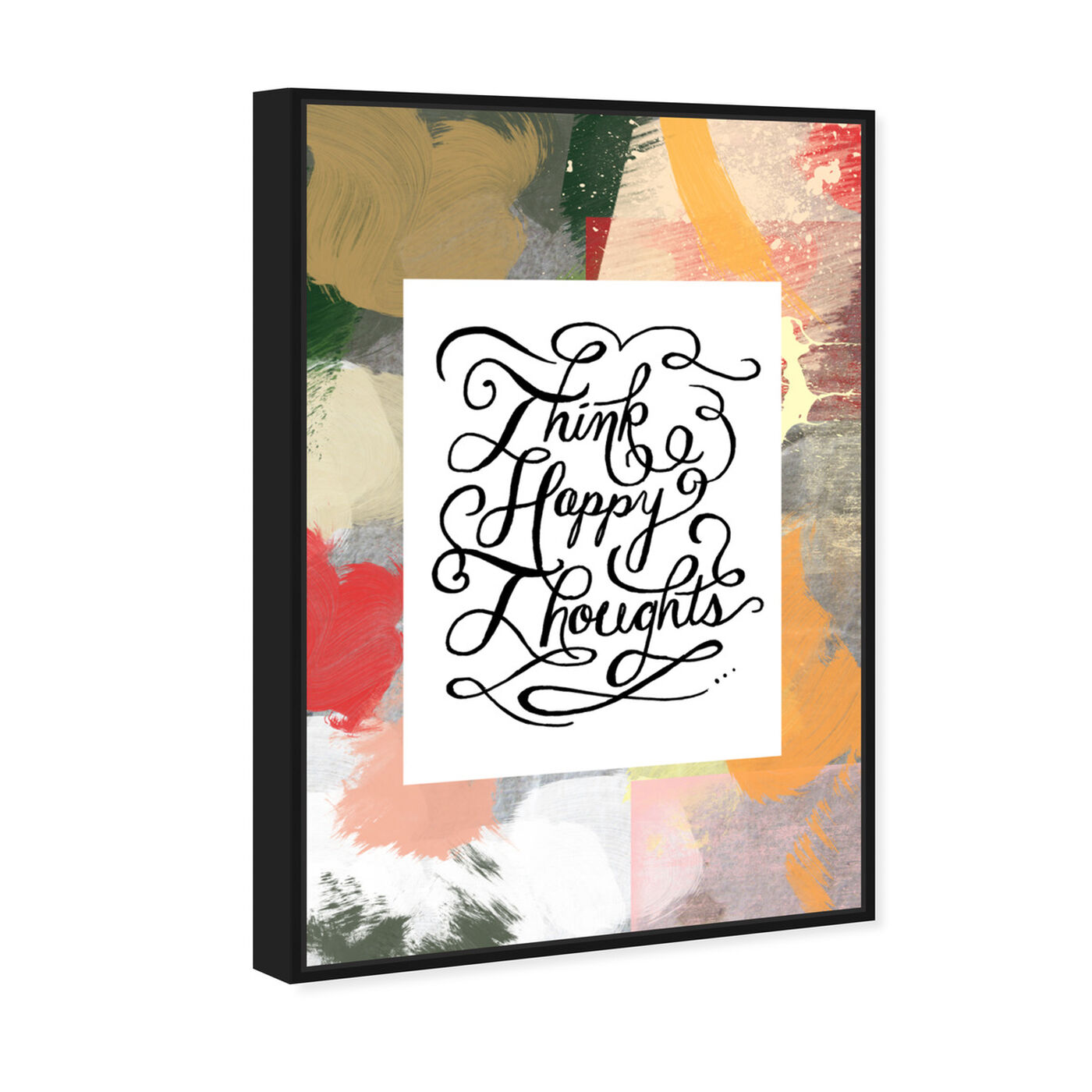 Angled view of Happy Thoughts I featuring typography and quotes and inspirational quotes and sayings art.