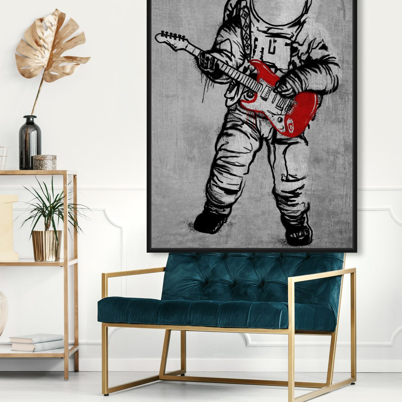 Hanging view of Moontunes featuring astronomy and space and astronaut art.