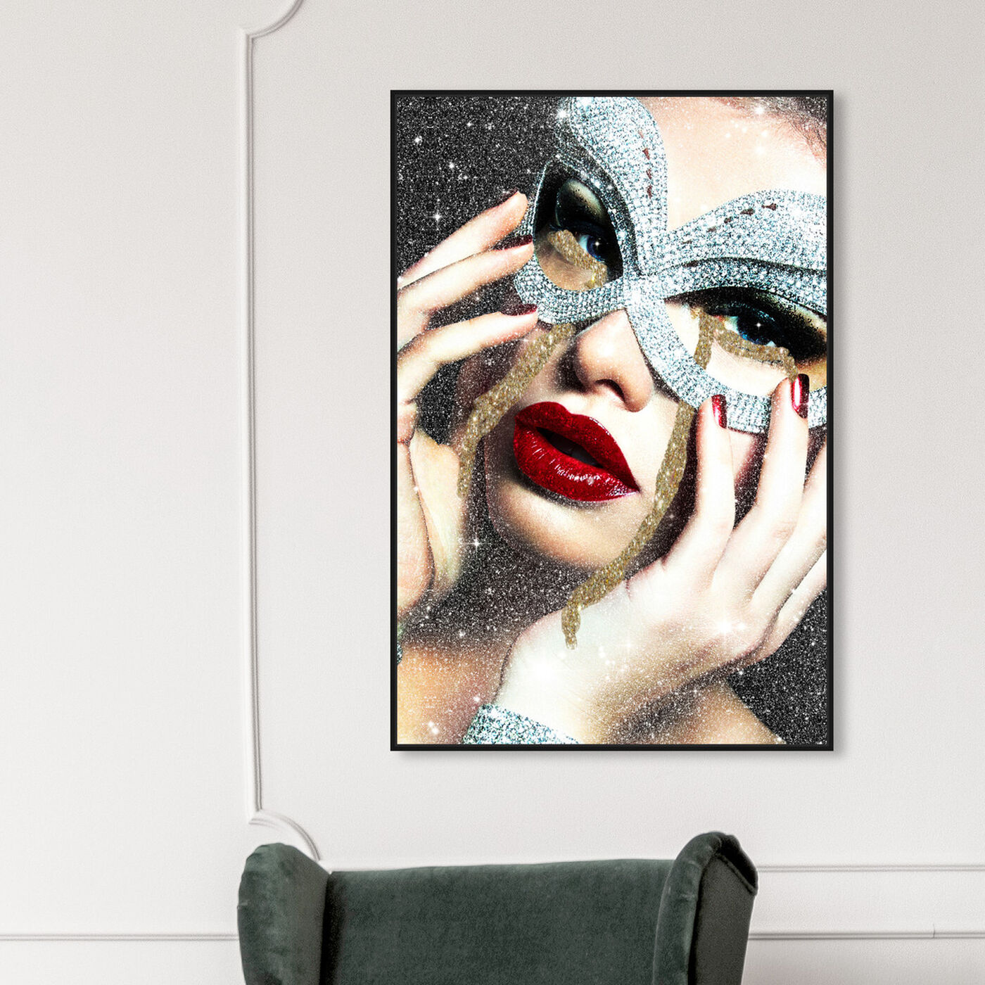 Hanging view of Texted Him and It Came Back Green II featuring fashion and glam and lips art.