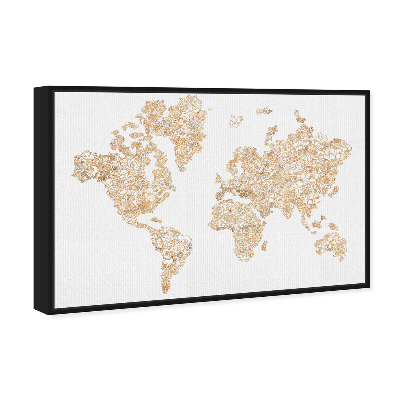 Angled view of Mapamundi Gold Floral featuring maps and flags and world maps art.