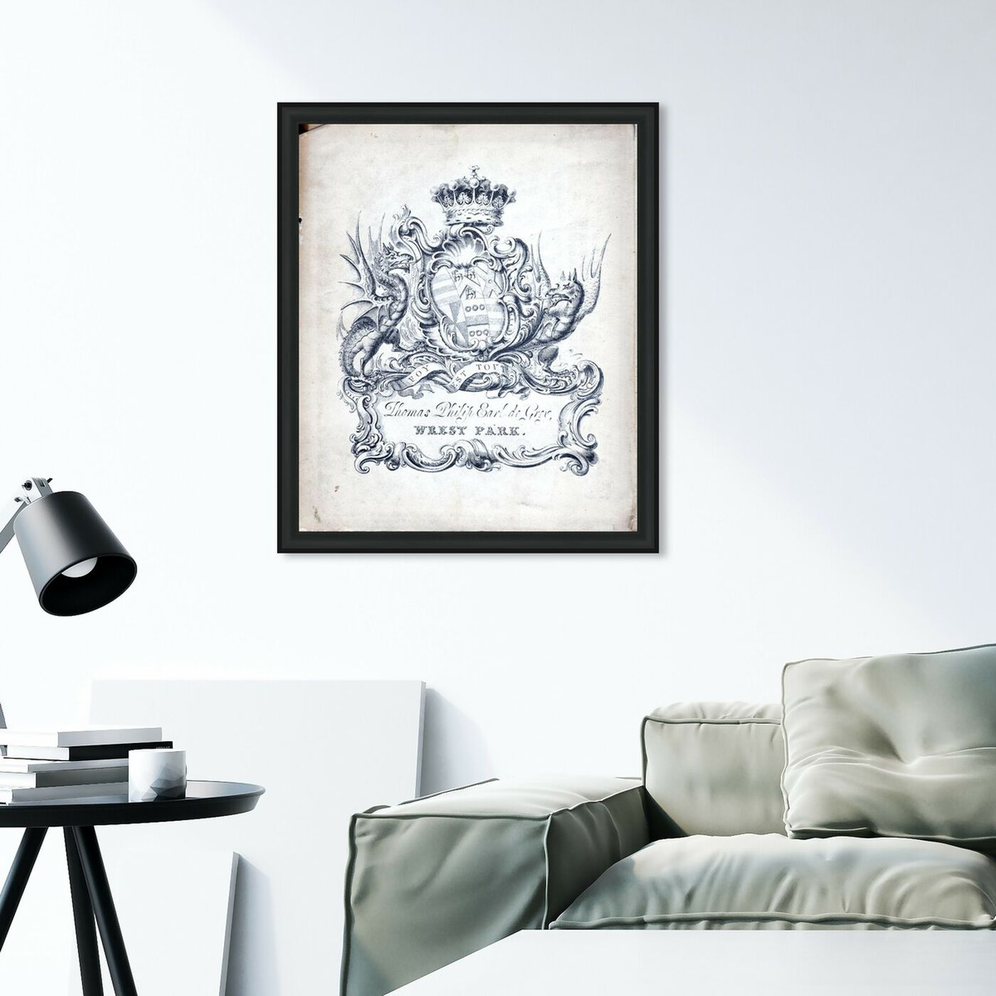 Hanging view of Armorial Engravings II featuring classic and figurative and french décor art.