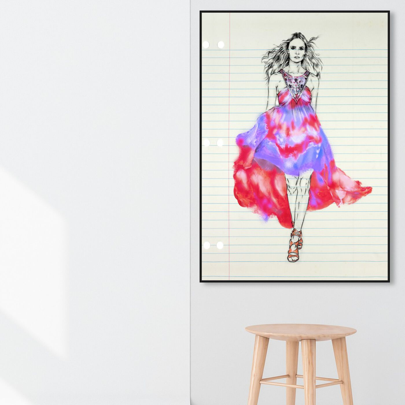 Hanging view of Fashion Illustration 1 featuring fashion and glam and dress art.