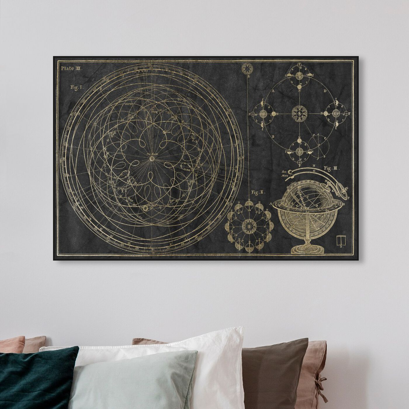 Hanging view of Floreali Astronomic Plate featuring astronomy and space and telescopes art.