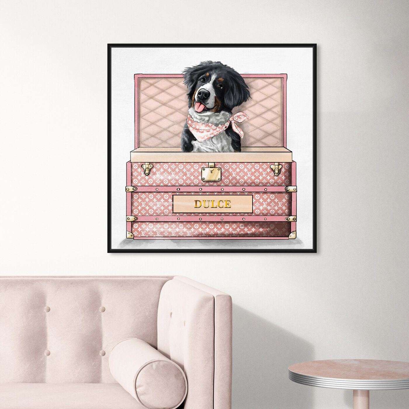 Hanging view of Pink Luxury Trunk featuring animals and dogs and puppies art.