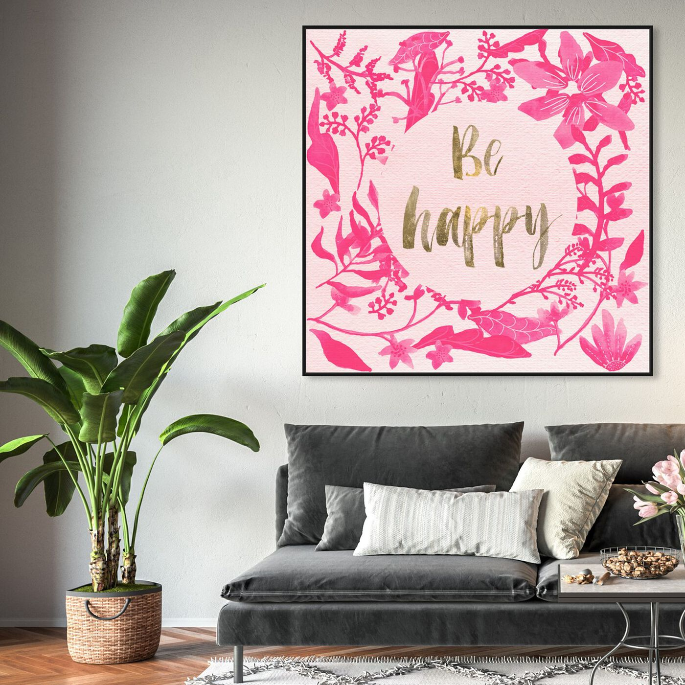 Hanging view of Pink Happy featuring typography and quotes and inspirational quotes and sayings art.