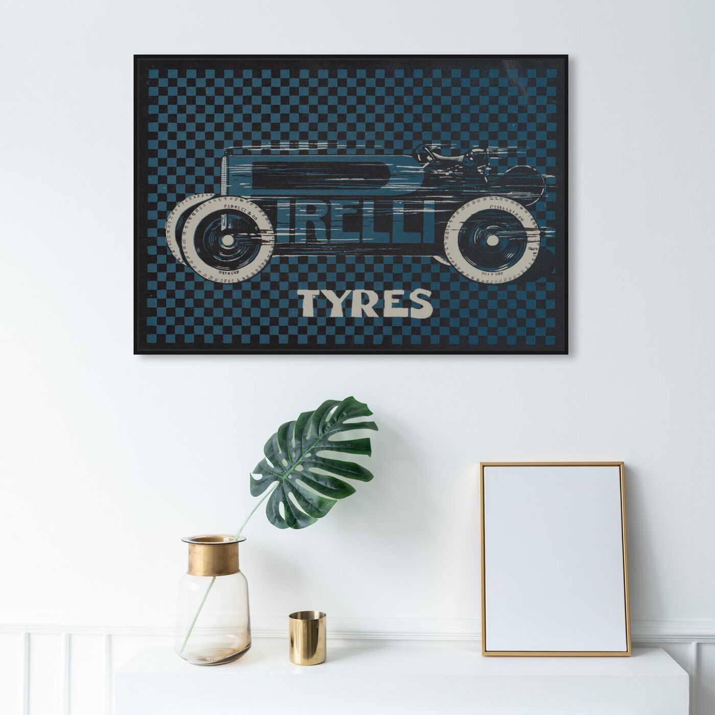 Hanging view of Tyres Checkered featuring transportation and automobiles art.