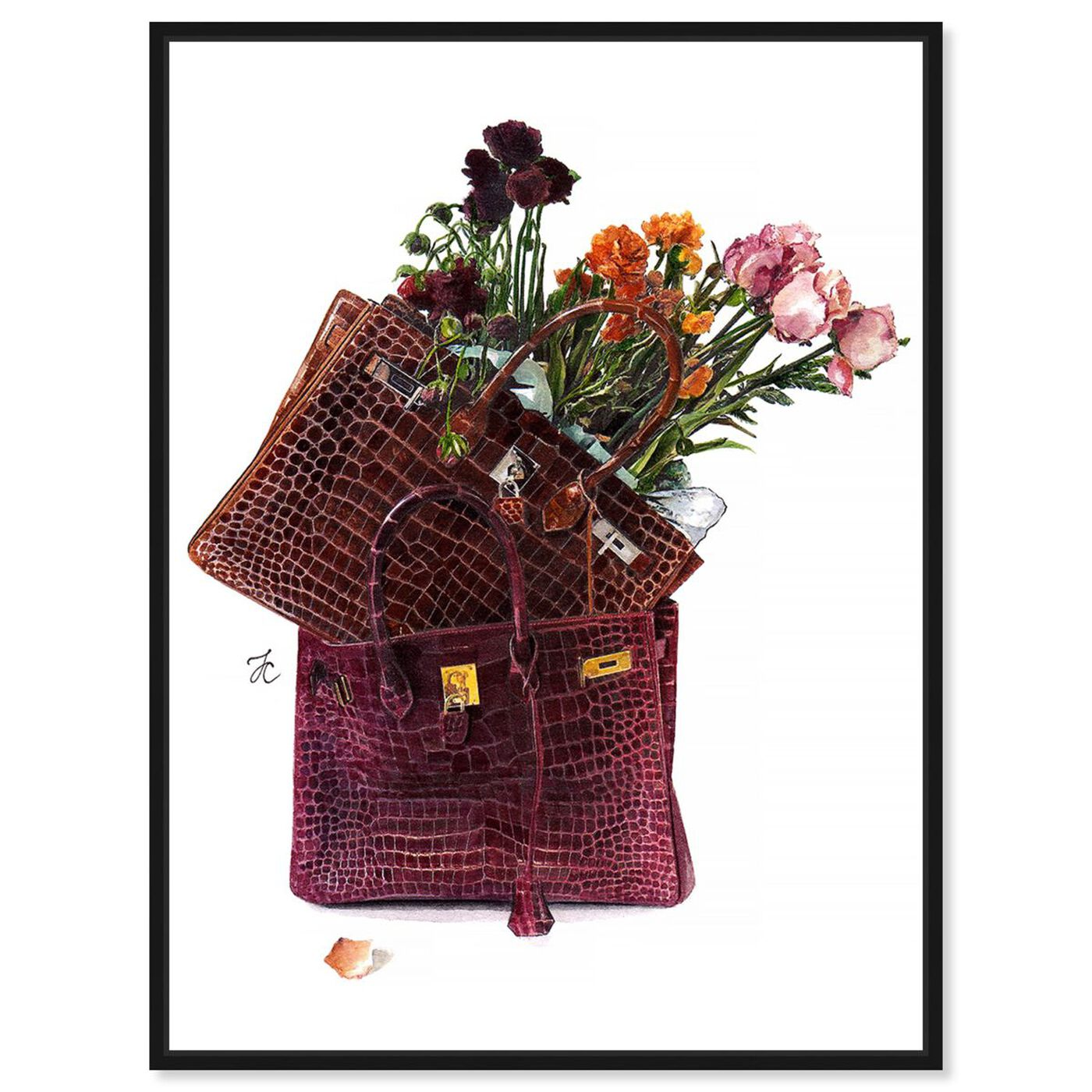 Front view of Doll Memories - Flowers featuring fashion and glam and handbags art.