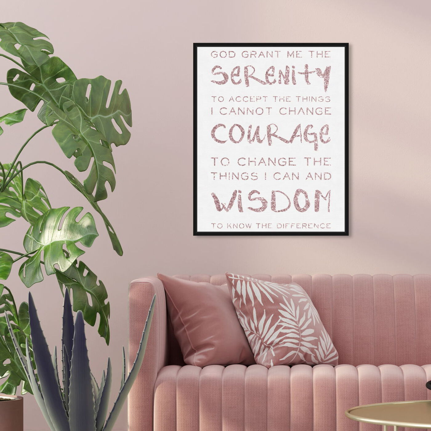 Hanging view of Serenity Prayer Blush and White featuring typography and quotes and inspirational quotes and sayings art.
