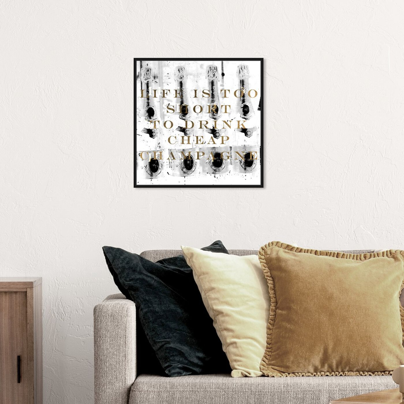 Hanging view of No Cheap Champagne featuring typography and quotes and funny quotes and sayings art.