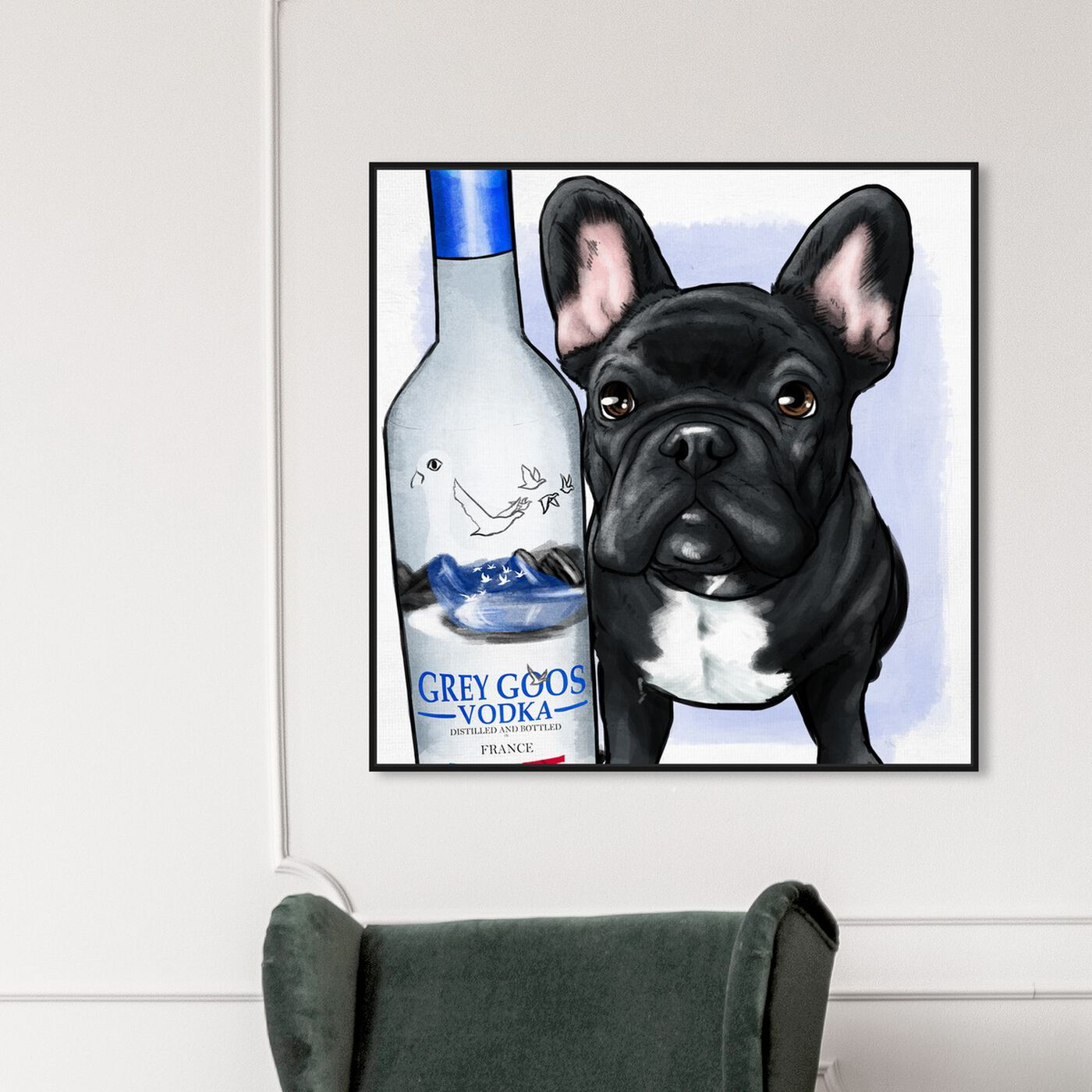 Hanging view of Grey Goose Compagni No Scarf featuring animals and dogs and puppies art.
