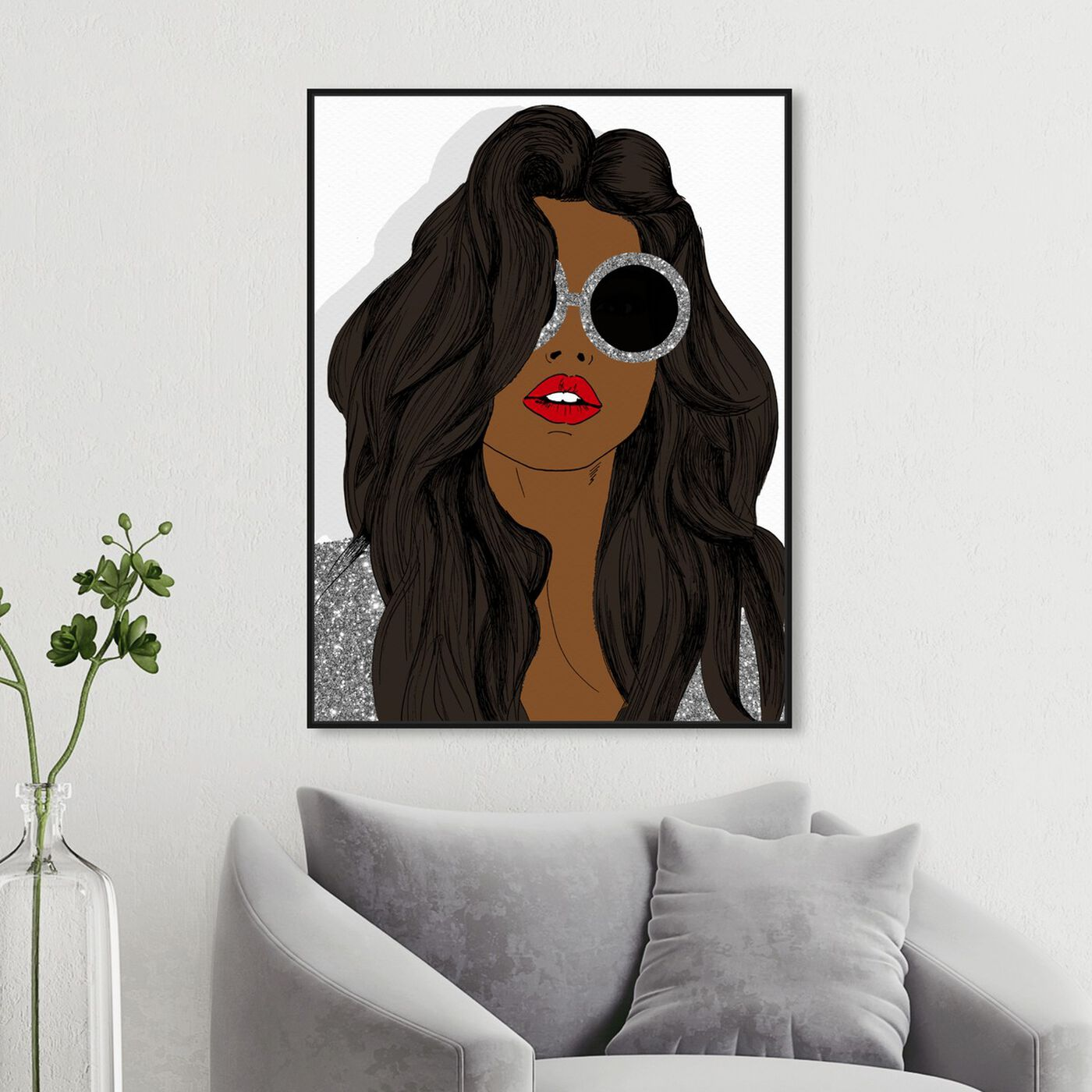 Hanging view of Brunette Sunglasses featuring fashion and glam and accessories art.