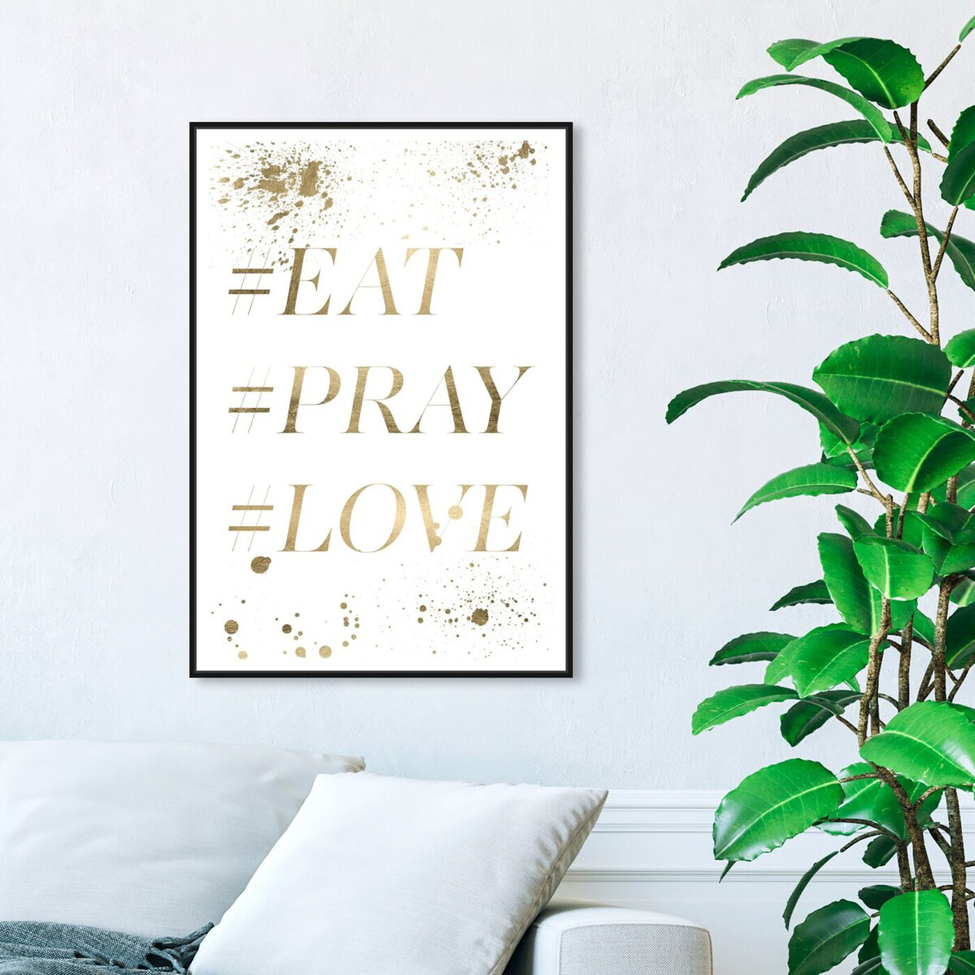 Hanging view of Eat Pray Love Hashtag II featuring typography and quotes and love quotes and sayings art.