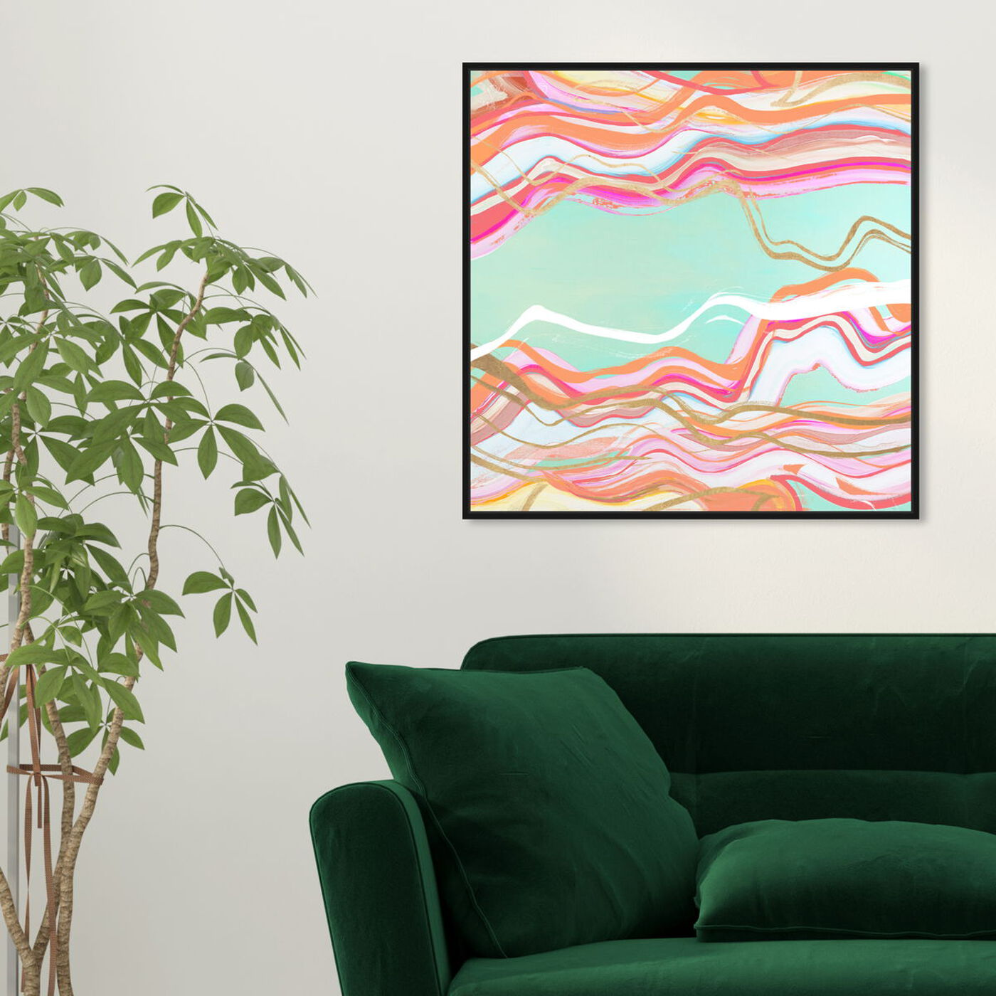 Hanging view of Choose Happiness Flow featuring abstract and shapes art.