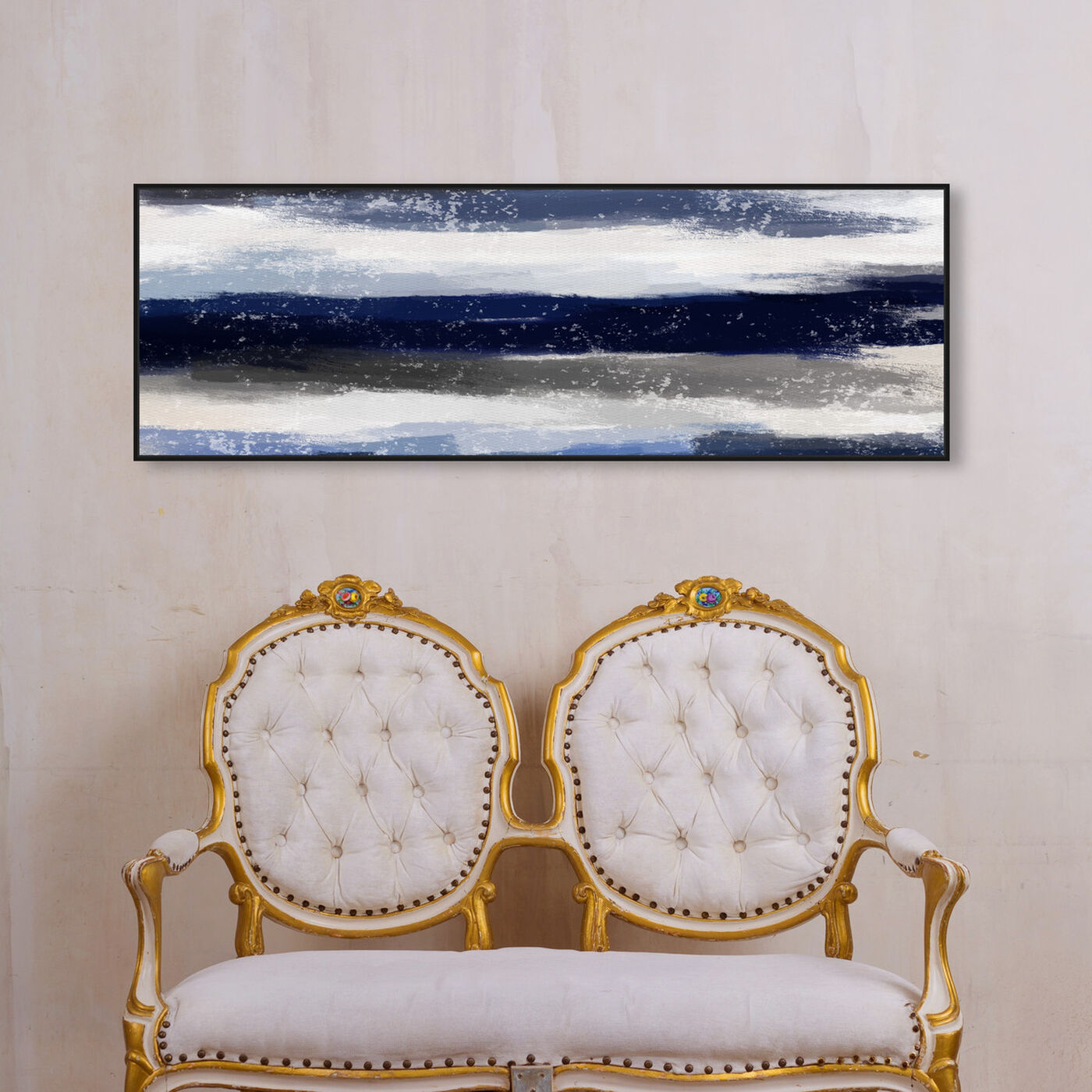 Hanging view of Sapphire Shades Long featuring abstract and watercolor art.