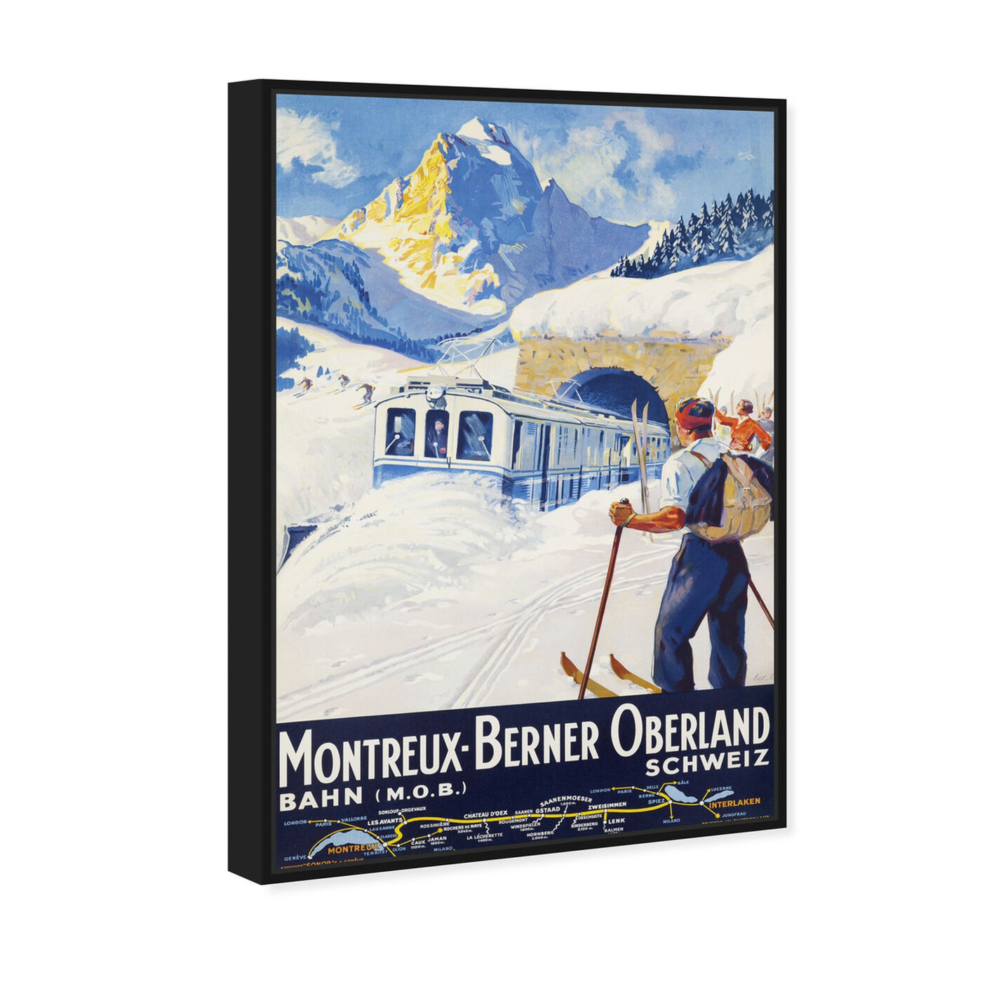 Angled view of Montreux-Berner featuring sports and teams and skiing art.