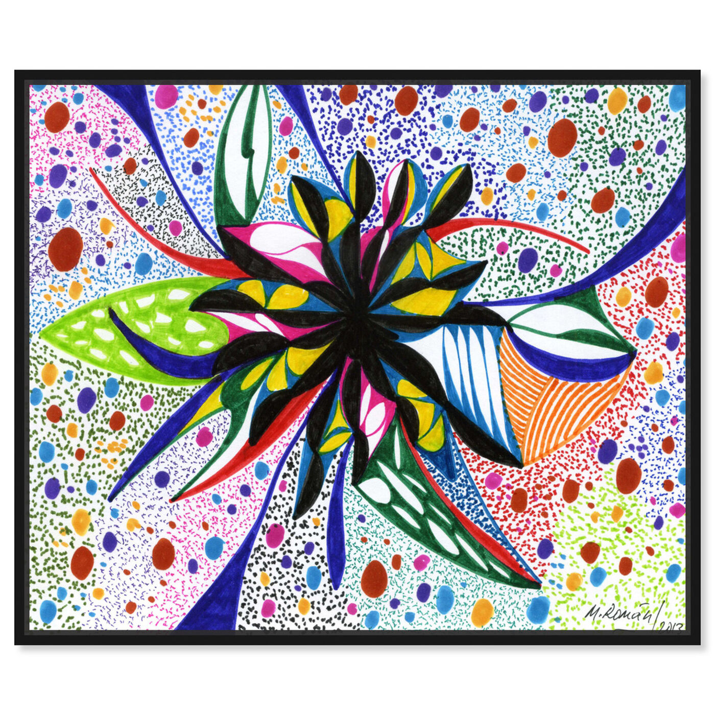 Front view of Bromeliad featuring abstract and flowers art.