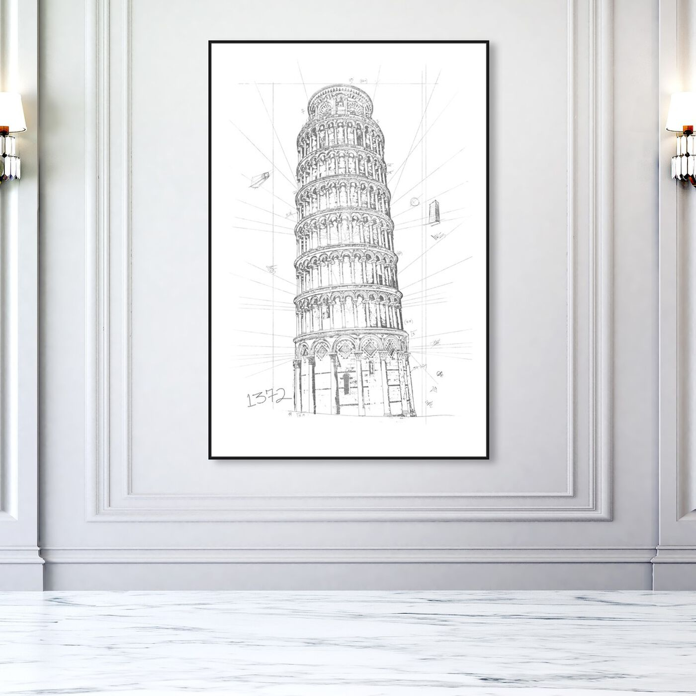 Hanging view of Tower of Pisa Silver featuring architecture and buildings and european buildings art.