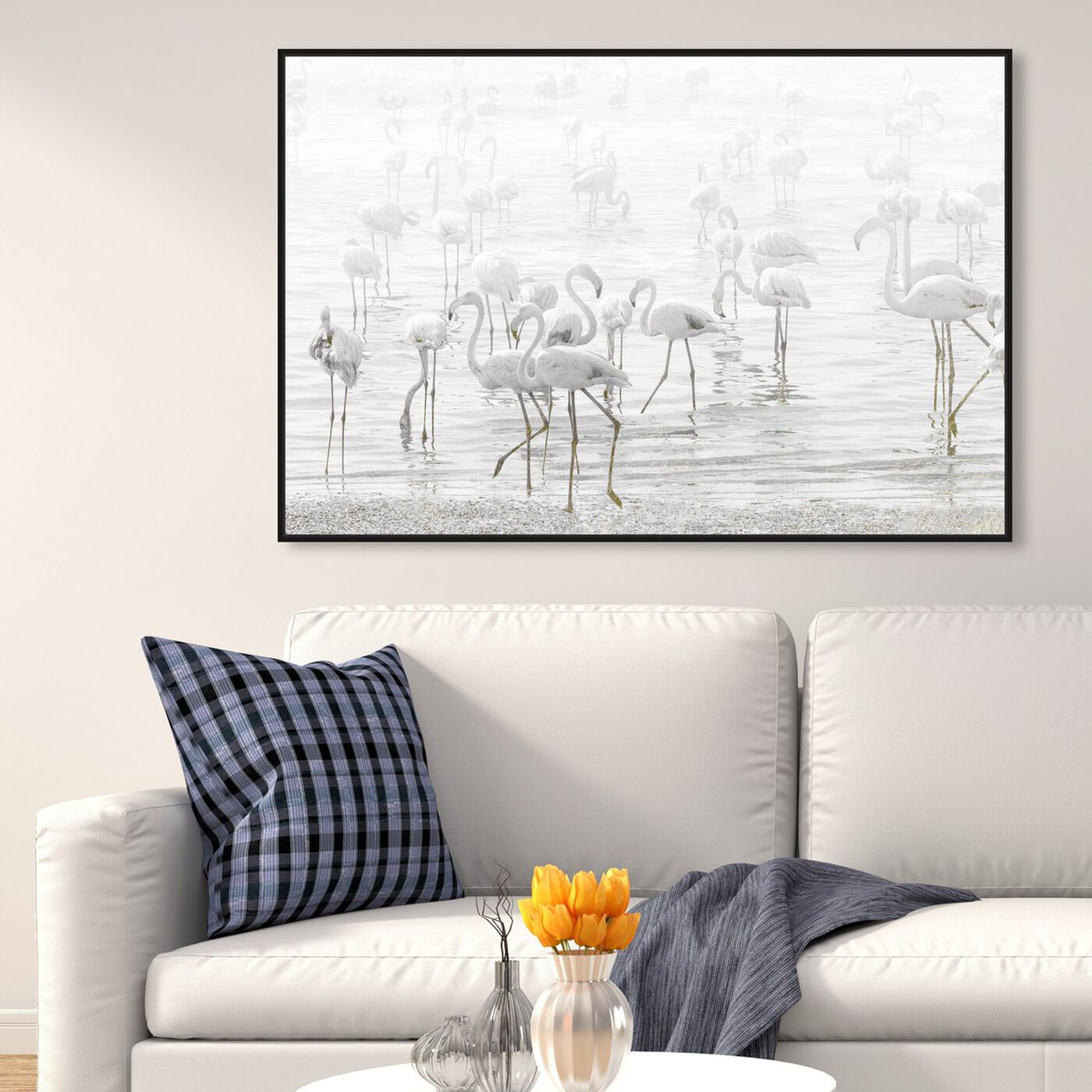 Hanging view of White Feather Flamingos featuring animals and birds art.