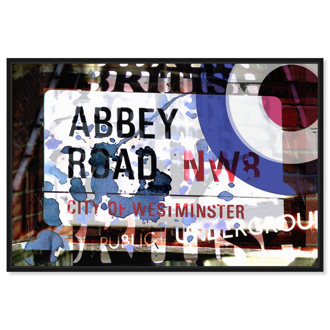 Front view of Abbey Road featuring advertising and posters art.