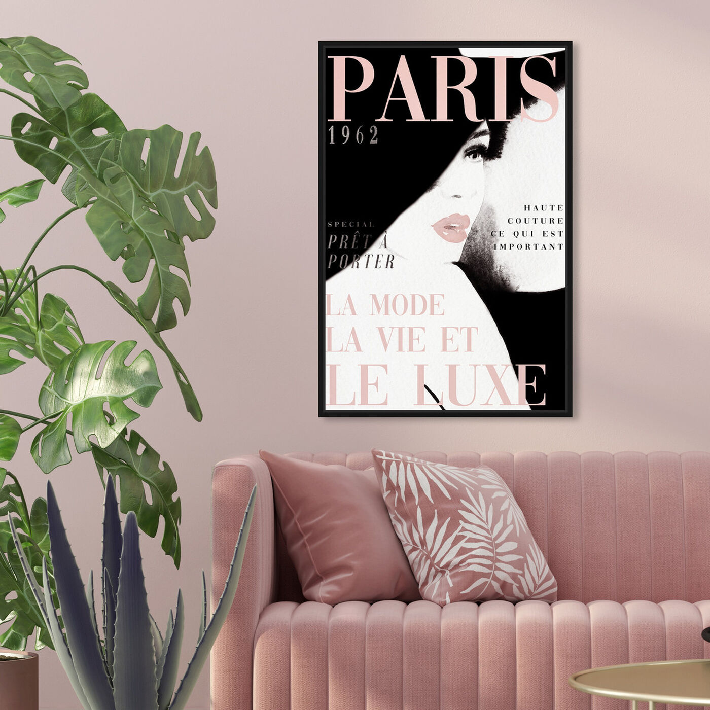 Hanging view of Cover Paris in Blush featuring fashion and glam and makeup art.