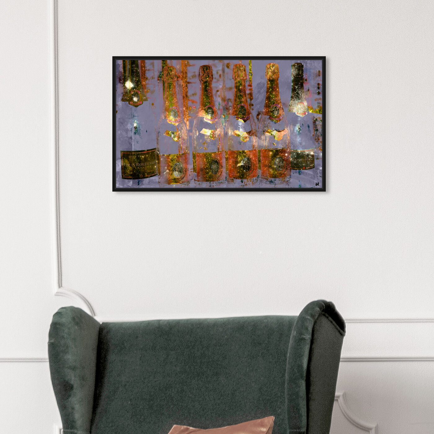 Hanging view of Cristal on Crystal featuring drinks and spirits and champagne art.