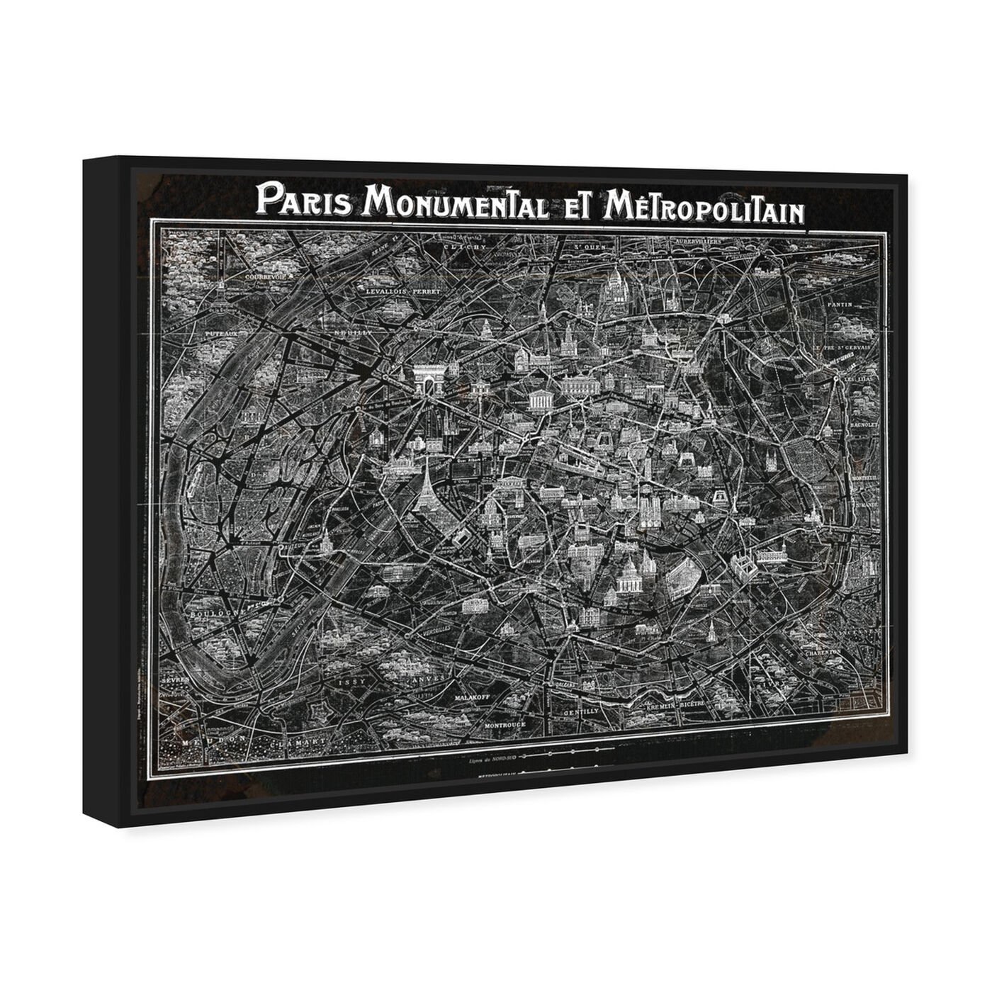 Angled view of Paris Metropolitain Map 1920 featuring maps and flags and european cities flags art.