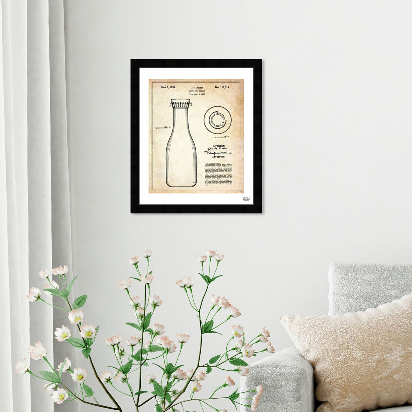 Hanging view of Milk Bottle 1938 featuring food and cuisine and baking essentials art.