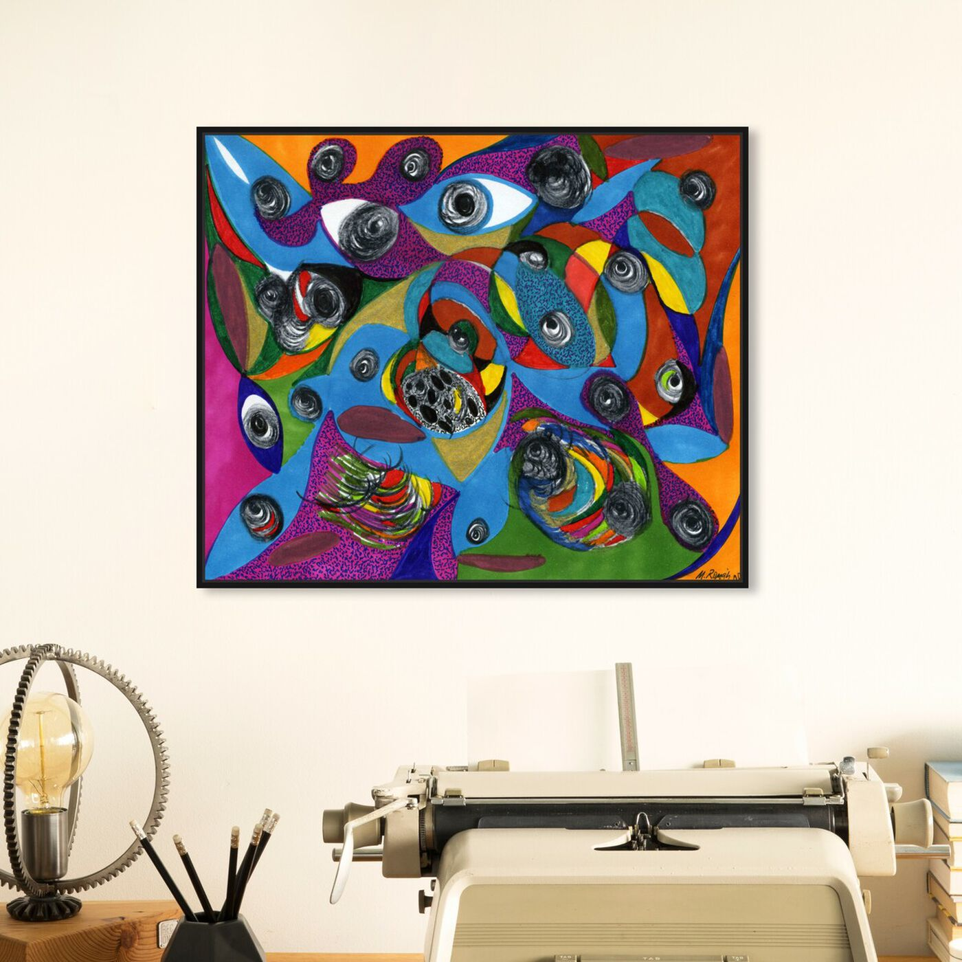 Hanging view of Eye See You featuring abstract and geometric art.