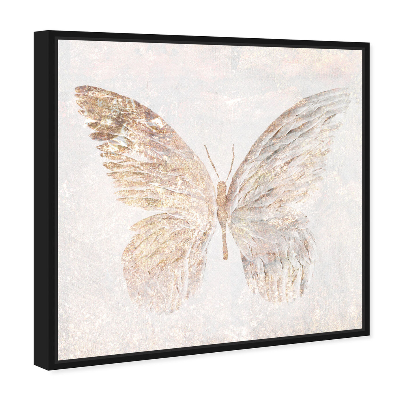 Angled view of Golden Butterfly Glimmer featuring animals and insects art.