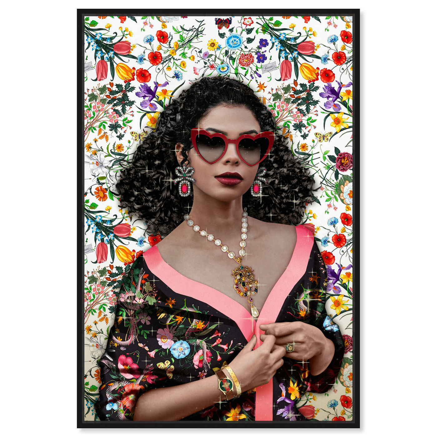 Front view of In a Flower Shower featuring fashion and glam and portraits art.