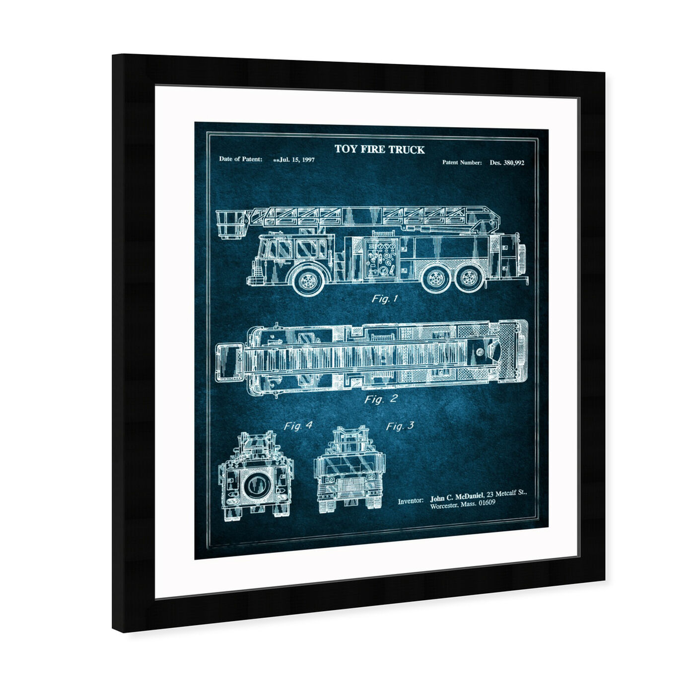 Angled view of Toy Fire Truck 1997 - Blue featuring entertainment and hobbies and toys art.