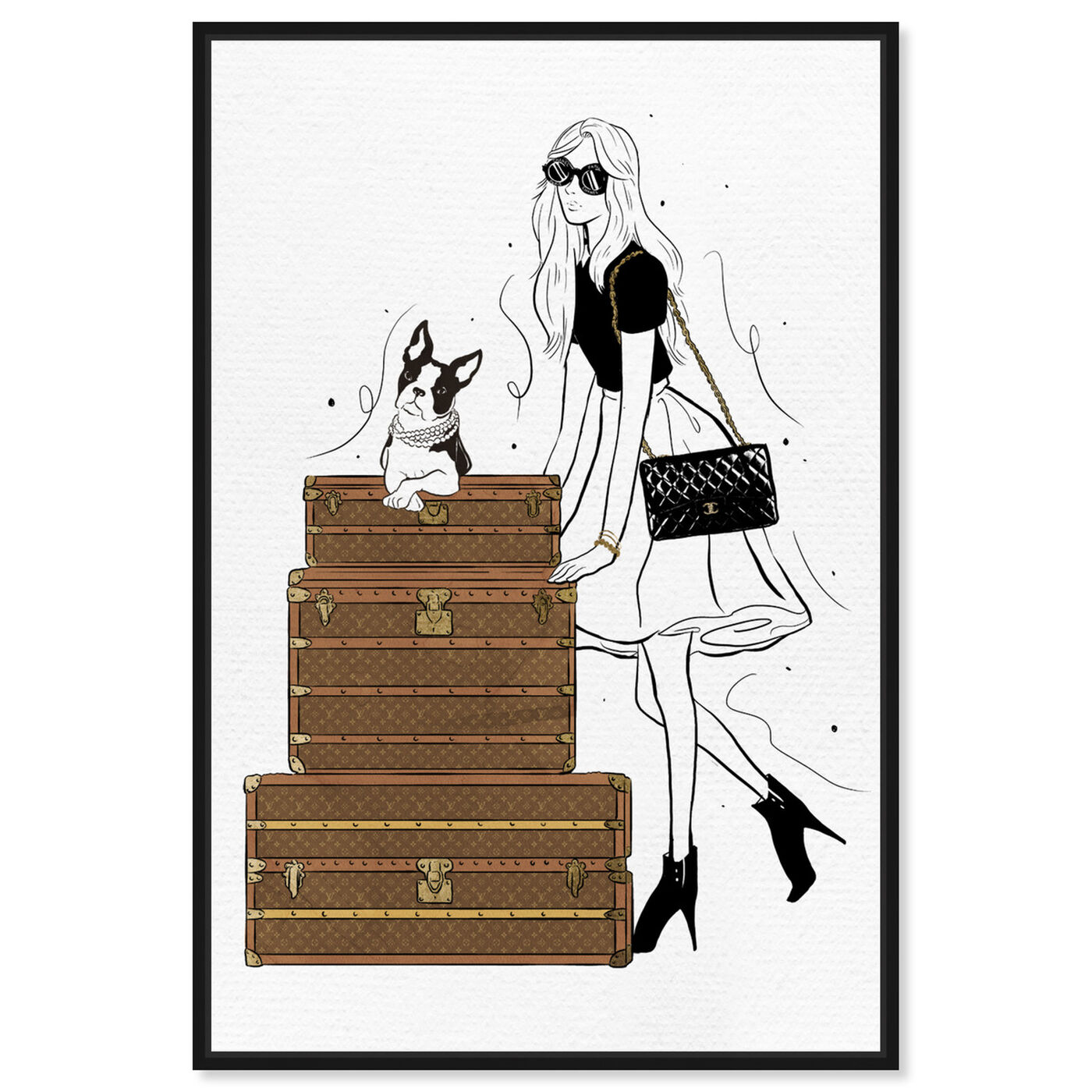 Front view of Traveling in Style featuring fashion and glam and travel essentials art.