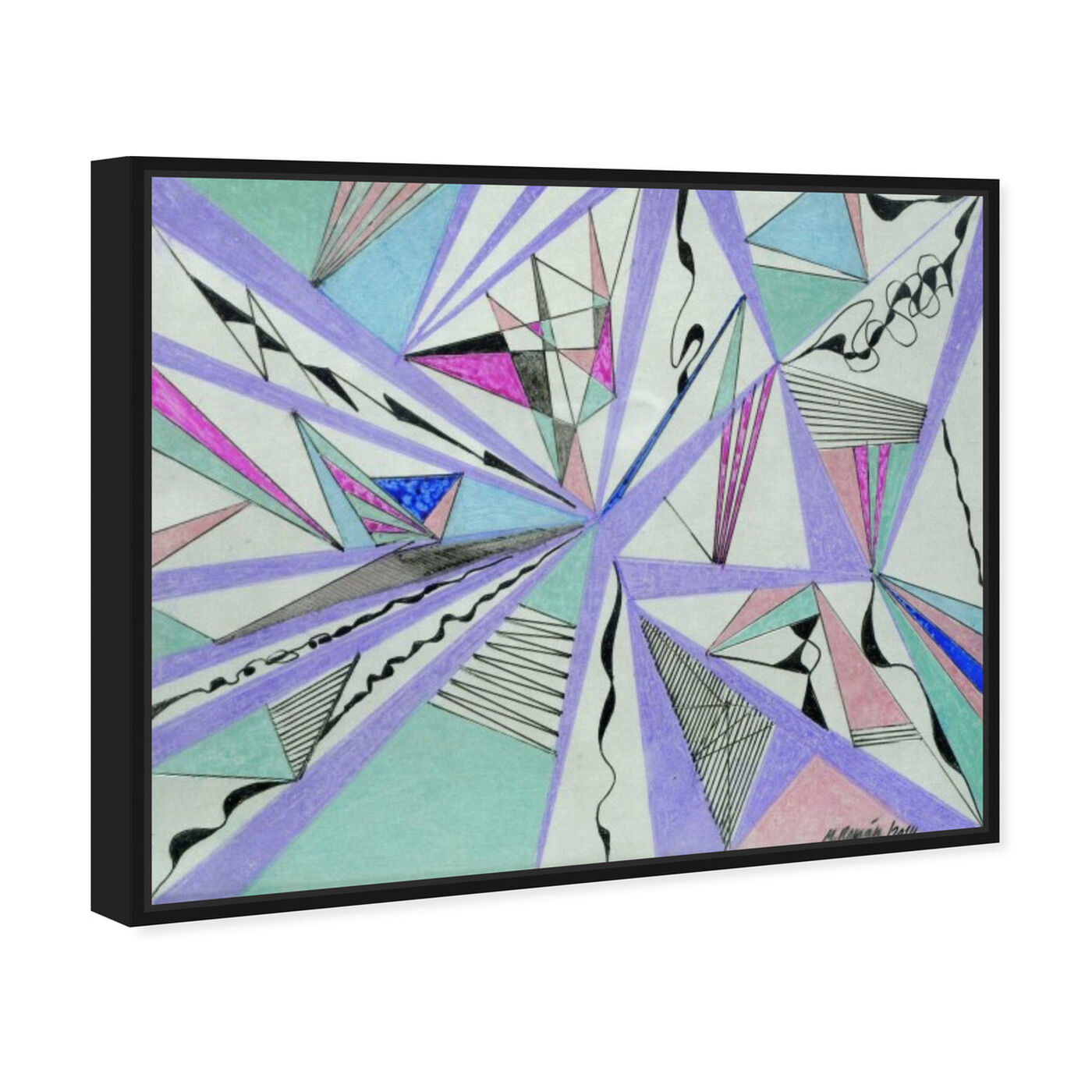 Angled view of Musica featuring abstract and geometric art.