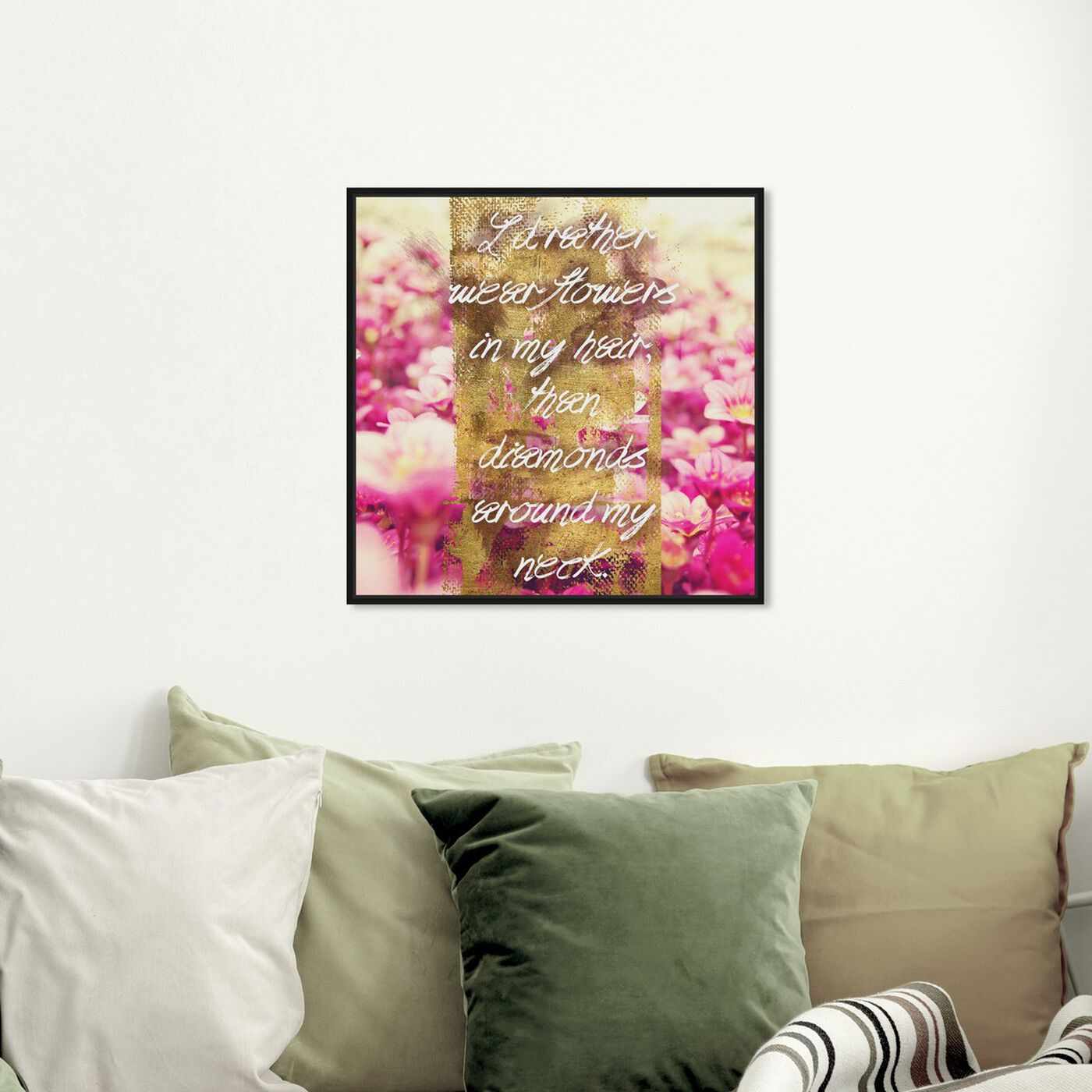 Hanging view of Flowers in My Hair I featuring typography and quotes and beauty quotes and sayings art.