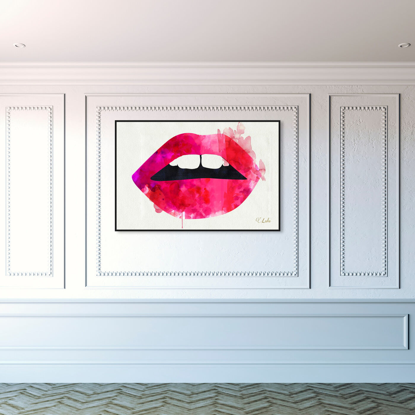 Hanging view of Lola's Lips featuring fashion and glam and lips art.