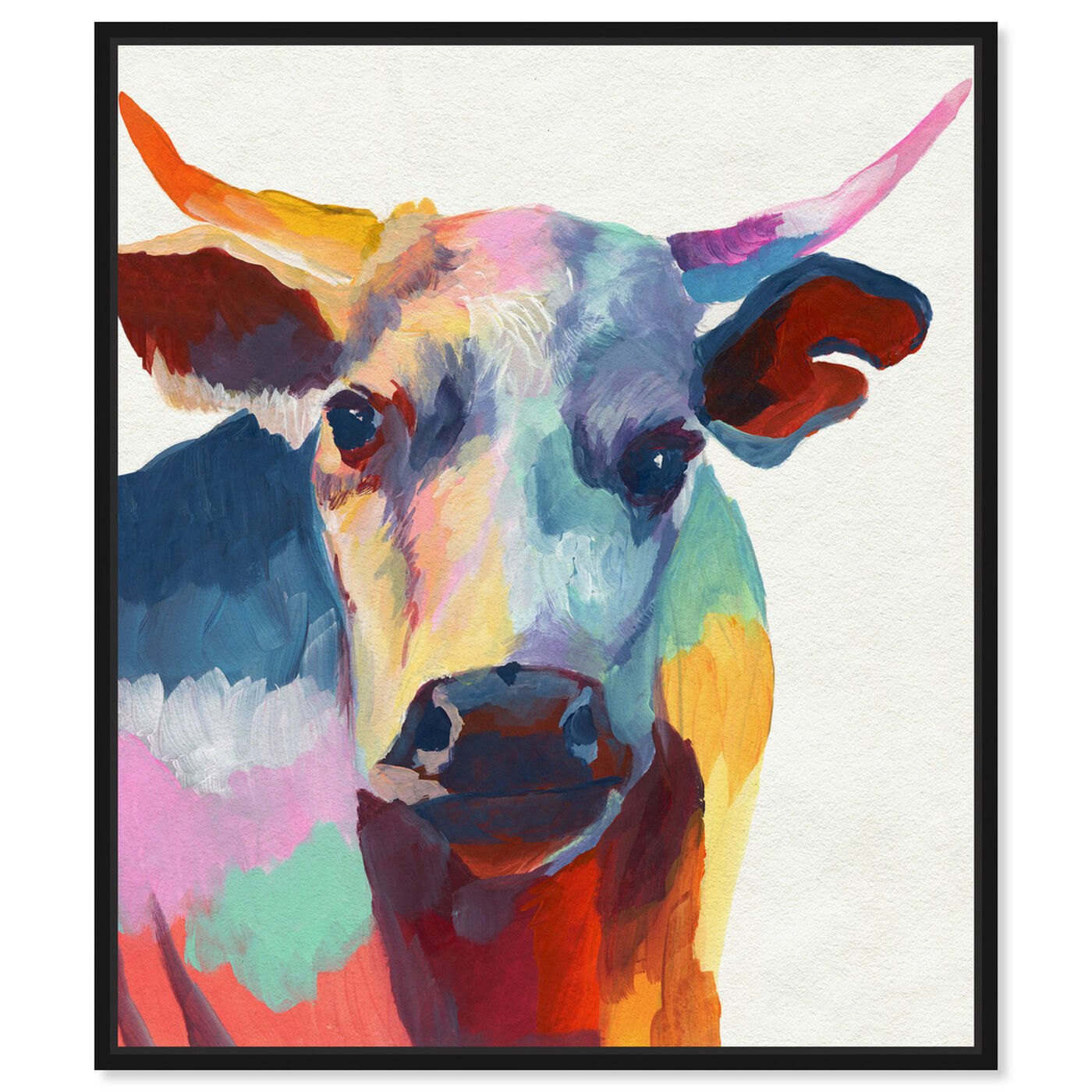Front view of Cow Wow featuring animals and farm animals art.