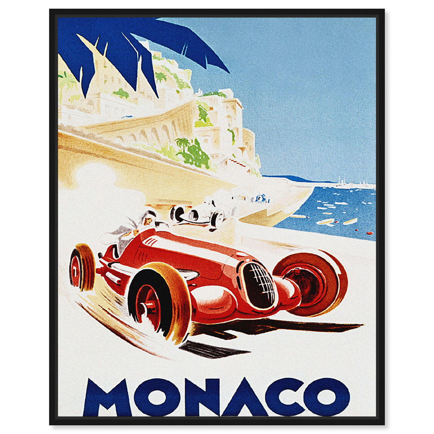 Front view of Monaco Grand Prix featuring advertising and posters art.